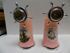VINTAGE SOUVENIR PLASTIC SALT & PEPPER SHAKERS~PINK~BUFFALO BILL~COLORADO~