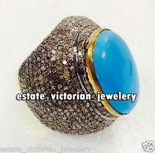 Estate Vintage 7.40Cts Rose Cut Diamond Turquoise Silver Jewelry Cocktail Ring