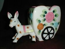 "Japanese Ceramic Hand Painted DONKEY & CART Planter - Large 6"" tall,9"" Long"