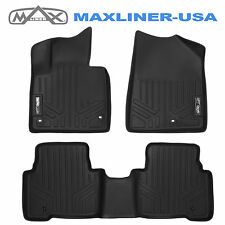 MAXFLOORMAT All Weather Custom Floor Mats Liner (2 Row) Set for SANTA FE Black