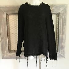 Byther By The R Womens XL L M Black Sweater Damaged Frayed Emo Punk Grunge Goth