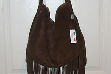 NEW! NWT! D2 DSQUARED Chocolate Brown Suede Fringe Hobo Shoulder Bag ITALY $698