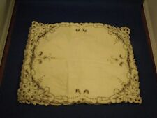 Vintage Set of 4 Embroidered Cloth Small Placemats Napkins Handkerchiefs