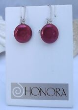 Beautiful Pair Of Honora  Freshwater Coin Pearl Earrings  13MM CHERRY