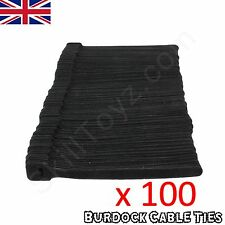 100 Cable Ties Small Hook and Loop Velcro style Wraps Black 152 x 8mm -UK SELLER