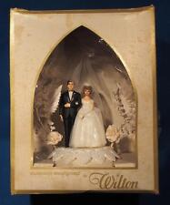Vintage Wilton Bride & Groom Wedding Cake Topper in Original Box