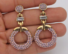 2.6'' Fringe Bohemia Geometry Pearl Crystal Beads Oval Party Drop Earrings Pink