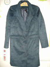 BLACK and dark teal green fluffy TOPSHOP WOOL MIX COAT SIZE 8 cost £85