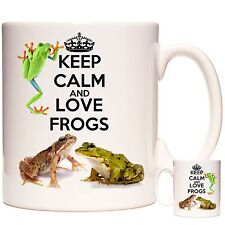 Keep Calm And Love Frogs 11oz ceramic mug, Can be personalised. Dishwasher safe