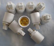 TEN PACK Adapters to Use E27/E26 Light Bulbs in a G24- 4 PIN fixture base