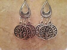 TREE of LIFE Gypsy Earrings, Silver Plated Wires, Wicca Celt Christian Jewish