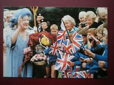 POSTCARD ROYALTY QUEEN MOTHER AT CALKE ABBY DERBYSHIRE 1990
