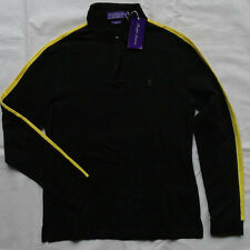Ralph Lauren Purple Label BLACK Stretch Cotton Polo Shirt Taglia M