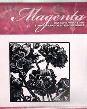 New CLING MAGENTA Rubber Stamp CARNATION SQUARE TILE Cling Spring Easter flowers