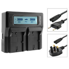 Dual Twin LCD Battery Charger with High and Low Modes for Sony NP-FM70 NP FM90