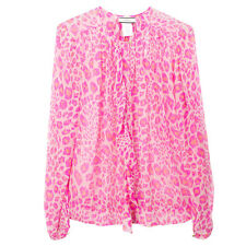 BY MALENE BIRGER By Malene Birger Josittia Leopard Pink Silk Shirt Blouse 38 S