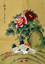 "Chinese silk painting pigeon dove birds flowers 15x11"" gongbi art brush ink new"