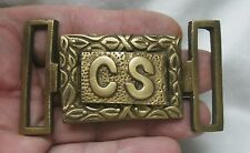Reproduced  - CS - Confederate States 2 Piece rectangle Belt Buckle  Solid Brass