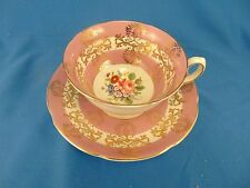 Royal Grafton cup and saucer pink gold scroll bone china England art porcelain