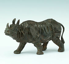 Pierre Chenet Nashorn Rhinocéros 20. Jhdt. Bronze French Contemporary, Signed