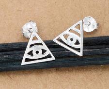 925 Sterling Silver 1 Pair of Evil Eye Stud Earrings 10 mm.