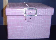 New Pink Square Synthetic Faux Croc Portable Organizer Jewelry  Box with Cover