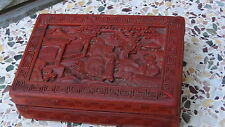 """ANTIQUE CHINESE 19C RED LACQUER CINNABAR BOX""""IMMORTALS NEAR A PALACE"""""""