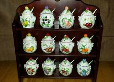 Lenox Jelly Jam Jar Set of 12 With Display Case Shelf Fruit Spoons Wonderful!