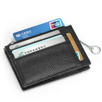 MEN LEATHER SMALL WALLET CLUTCH PURSE ID HOLDER WITH KEY RINGS