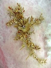 GB410 Embroidered Appliques Rhinestone Center Gold Floral 3D Sequin Patch 7.75""