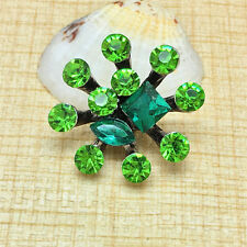 NEW Rhinestone Green Charm Chunk Snap Button fit for Noosa Bracelet BUZ60