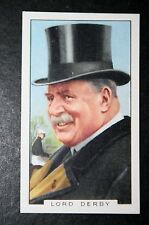 Race Horse Breeder   Lord Derby      Vintage 1930's Colour Card   VGC