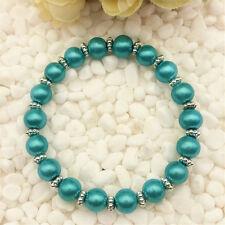 Wholesale fashion jewelry sky blue 8 mm glass pearl stretch beaded bracelet  DIY