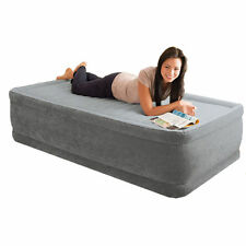 Intex Dura-Beam Grey Plush Raised Single Size Airbed + Built in Electric Pump