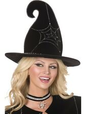 Spiderweb Witch Hat Velour Black & Silver Spider web design - Ladies Fancy Dress
