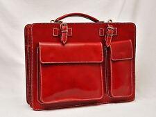 Italienische Leder Aktentasche Aktenkoffer PC Tasche dunkel rot Ranzen