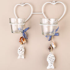 Tobs Hanging Glass Tea light Candle Holder/Sconce - Double White Heart