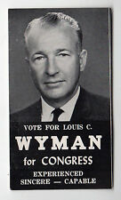1960s LOUIS WYMAN Congress PALM CARD Poll POLITICAL New Hampshire NH US House