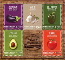 GRanatine Di Grenada 2014 Mnh Frutti e Vegetali II 5v Ms Aglio Pomodoro Pepe