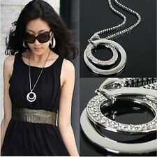 Women Ladies Crystal Rhinestone Silver Plated Long Chain Pendant Necklace Gift