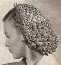 Vintage Crochet PATTERN to make Snood Hairnet Fishnet Headgear MediumLightSnood