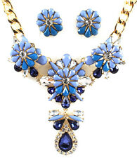 Chunky Sapphire Blue Romantic Paris Luxury Costume Flower Statement Necklace Set