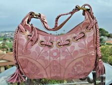 Isabella Fiore Handbag, Shoulder Bag Pink Hobo, Floral Pattern, Braided Bag