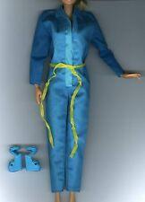 Vintage Barbie Fashion Clothes - Blue Jumpsuit with Yellow Tie Belt & Shoes