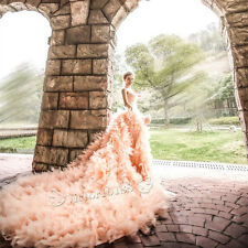NEW Long Train Wedding Dresses Quinceanera Evening Prom Party Cocktail Ball Gown