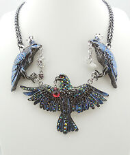 KIRKS FOLLY NEVERMORE RAVENSCLAW PROTECTOR NECKLACE SILVERTONE/ HEMATITE