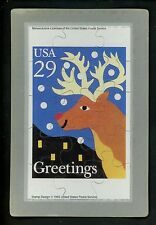 Novelty stamp PUZZLE postcard Scott #2792 Christmas Reindeer Holidays 1993