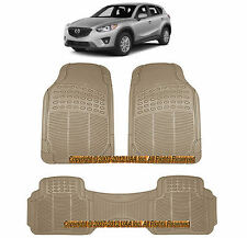 3PC ALL WEATHER BEIGE RUBBER FLOOR MATS SET for MAZDA CX-7 PROTEGE 5 7