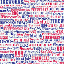 """12"""" Scrapbook Paper 4th of July cardstock Title Fireworks BBQ Family Picnic 5pc"""