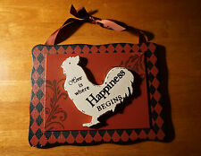 HOME IS WHERE HAPPINESS BEGINS Chicken Rooster Farm Kitchen Home Decor Sign NEW